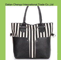 Trendy newest stripe canvas tote bag ladies with pu handle