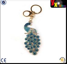 Majestic Peacock Sparkling Keychain Blingbling Crystal Handbag Charm for Feather Fans Key Chain Bird Animal Lovers Rhinestone