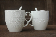 New Bone China Thin And Light White Mug With Embossed Butterfly