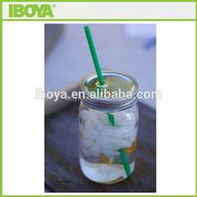 square round 16 oz glass jar with straw lid