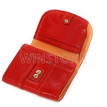 Leather zipper coin purse with card wallet