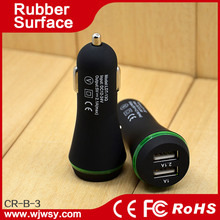 10 Colors New Fashion Design Rubber Surface with Soft Hand Feel Input 12-24v Output 5v 2.1A + 1A Smartphone Car Charger