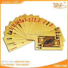 Normal size pvc/pet material gold color famous brand playing card