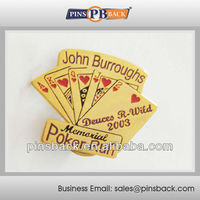 "1""POKER RUN logo custom soft enamel lapel pins badges no minimum maker"