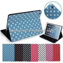 Most Popular Polka Dot Pattern PU Leather Case for iPad Mini 1/2/3 with Stand Function