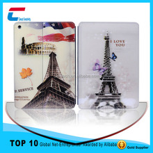 Eiffel Tower image print flip stand PU leather case for ipad mini .leather cover case for ipad mini ,for ipad mini leather case