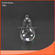 mouth blown decorative glass hanging ball candle holder like a pear with a circle on it
