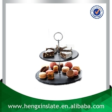 Factory Direct Price Natural Edge 28.5*23.5*23cm Round Black 2 Tier Slate Cake Stand Stone Cake Stand With Metal Handle