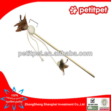 Natural wholesale cat toy / feather cat toy / bamboo teaser