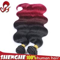 high quality double weft three tone ombre purple color 100 percent remy brazilian hair weaving