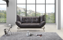 Brown Vinyl Couch Electric Functional Sofa Bed
