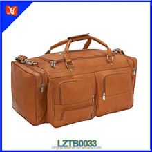 Genuine leather brown color big capacity travel bag for long term trip with top handles and strap