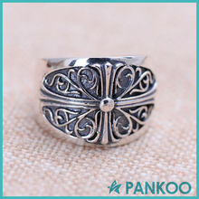 Fashion 925 Sterling Silver Cross Male Open Ring
