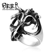 stainless Steel Punk Bull Buffalo Hand Skeleton Ring Hollow Man's Best Gift BR8-158