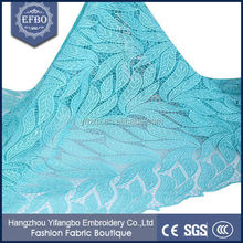 Allover leaf shape african cord guipure lace fabric / embroidery chemical aqua colour lace