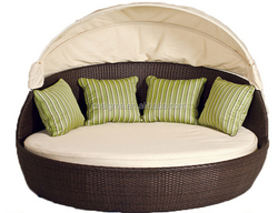 2015 Outdoor wicker furniture round shape rattan sofa bed with canopy