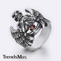 Trendsmax PUNK Cool Mens Boys Skeleton Skull w Angel Wings Ring Black Silver Tone 316L Stainless Steel Ring w red Rhinestone