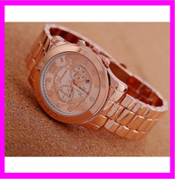 2015 Hot sale rose gold Geneva Quartz stainless steel back watch KD3537