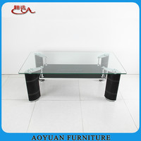B210 livinig room mdf glass and leather covering coffee table