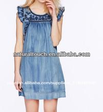 Las niñas 2014 lavado demin/vestido de cambray, vestido casual( ntf03025)