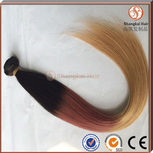 100% human ombre hair braiding hair extension two tone color hair weave