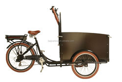 CE Danish bakfiets family pedal assist 3 wheel electric cargo adult tricycle for sale/cargo bike factory