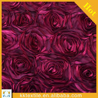 2014 new design wholesale satin ribbon rose embroidery fabric for women's dress