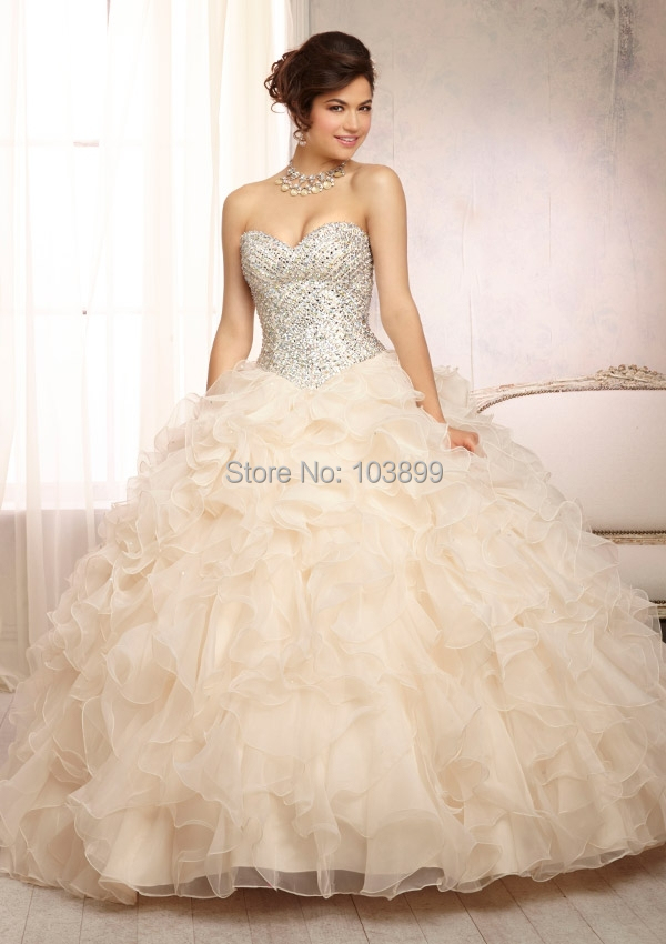 Wholesale Wonderful Ball Gown Sweetheart Organza Ruffles Crystals ...