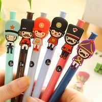 wholesale stationery plastic cartoon charactor personal design rainbow color gel ink pen