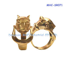 Pug shape stainless steel ring , gold engagement ring for sales