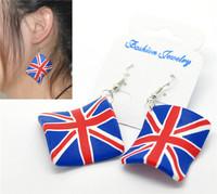 Rhombus Clay UK Flag Union Jack Pattern Earrings 6.5x4.5cm