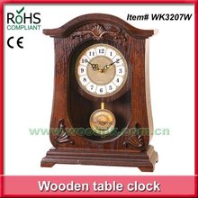 Woodpecker quartz pendulum stand clock wood old table clock