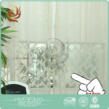 Window curtains design Bedroom use Voile white black flock curtains