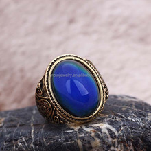 Excellent Glass Stone Alloy Bottom Men Ring Eco-Friendly Mood Ring For Europe and USA Market