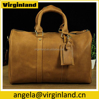 OEM Trendy Fashion Durable Crazy Horse Leather Laptop Compartment Travel Bag with Name Tag