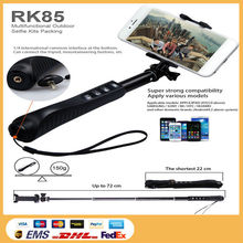 Humanized design RK85E 7 in 1selfie kits,wireless aluminum selfie stick with zoom