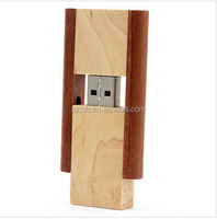 Customized New Style Rotatable wooden USB Flash Drive 128MB 512MB 1GB 2GB 4GB 8GB 16GB 32GB 64GB USB 2.0