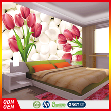 white cobble stone red lily designer decor bedroom 3d wallpapers for kids