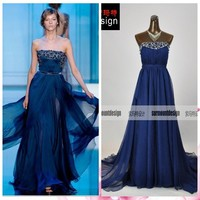 Surmount Real Pictures Strapless Pleated Bodice Beaded Dark Blue Evening Dresses