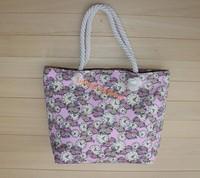 Stocks flower handbags canvas tote bag,canvas flower beach bag online shopping bag women handbag
