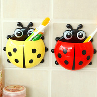 J333 Plastic Cartoon Beetle Toothbrush Holder Bathroom Set with Four Strong Suction Cup