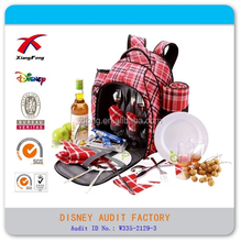 manufacture picnic bag, outerdoor picnic set backpack, 4 person picnic backpack