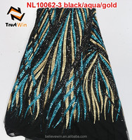 high quality multi color african french net lace fabric for garment