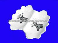 Deer Printed Aluminium Partition Dish, Decorative Tray, Enamel Dishes