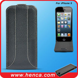 New design flip leather mobile case for iPhone5