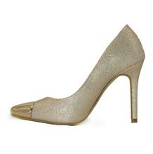 Fashion gold shiny metallic toe stiletto high heel dress shoes lady evening shoes or dress shoes