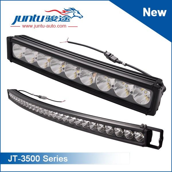 Curved Led Light BarsSeries No.:JT-3500LED Chip: 10W CREELength: 4inch~52inchPower: 30W~270WBeam: Spot/Flood/ComboWorking Voltage: 9-32VIP Rating: IP67Housing: Die-cast AluminumMounting: Stainless SteelLife-span: 30,000 Hours