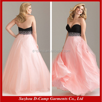 OC-1369 Popular two tone design pink/black party dresses for fat girls