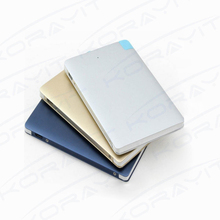 2500mAh Built-in Charge Cable Ultra Slim Metal Credit Card Portable Power Bank