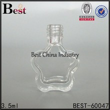 3.5ml clear flower shaped nail polish bottle with brush, fancy personalized nail polish bottle design